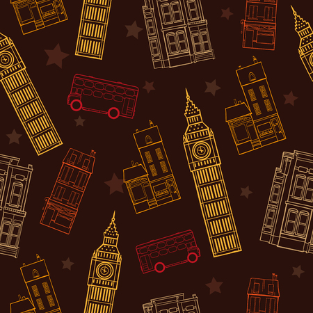 London Symbols Brown Seamless Pattern With Big Ben Tower, Double Decker Bus, Houses and Stars Graphic Design. Original custom repeat pattern surface design inspired by traveling.  イラスト・ベクター素材