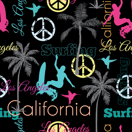 ladylike: Vector Surfing California Colorful On Black Seamless Pattern Surface Design With Surfing Women, Palm Trees, Peace Signs, Surf Boards Graphic Design. Custom original fabric repeat pattern design inspired by California. Illustration