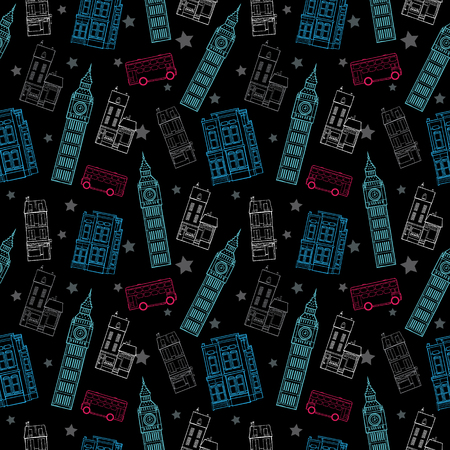double decker bus: Vector London Symbols Black Seamless Pattern With Big Ben Tower, Double Decker Bus, Houses and Stars Graphic Design. Original custom repeat pattern surface design inspired by traveling. Illustration