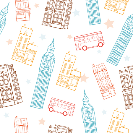 Vector London Streets Colorful Seamless Pattern With Big Ben Tower, Double Decker Bus, Houses and Stars Graphic Design. Original custom repeat pattern surface design inspired by traveling.