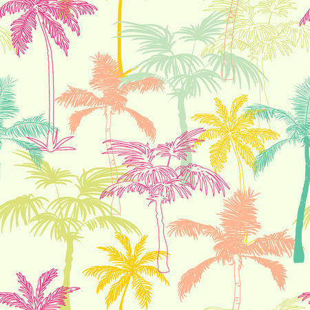 Vector Palm Trees California Pink Green Yellow Seamless Pattern Surface Design With Exotic, Decorative, Hand Drawn Plants. Graphic Design. Custom original fabric repeat pattern design inspired by California.