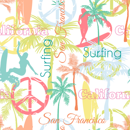 the womanly: Vector Surfing California San Francisco Colorful Seamless Pattern Surface Design With Surfing Women, Palm Trees, Peace Signs, Surf Boards Graphic Design. Custom original fabric repeat pattern design inspired by California.