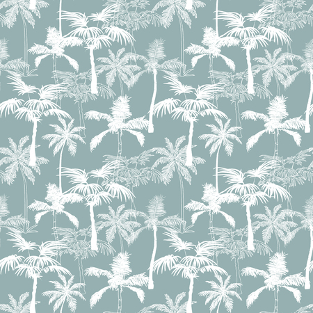 Vector Palm Trees California Grey Texture Seamless Pattern Surface Design With Exotic, Decorative, Hand Drawn Palms. Graphic Design. Custom original fabric repeat pattern design inspired by California.