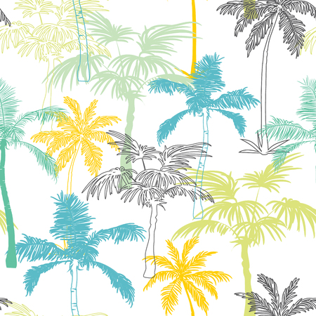Vector Palm Trees California Grey Blue Yellow Seamless Pattern Surface Design With Exotic, Decorative, Hand Drawn Plants. Graphic Design. Custom original fabric repeat pattern design inspired by California.