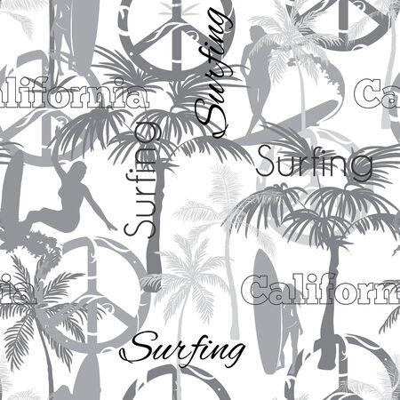 Vector Surfing California Grayscale Seamless Pattern Surface Design With Surfing Women, Palm Trees, Peace Signs, Surf Boards Graphic Design. Custom original fabric repeat pattern design inspired by California. Illustration