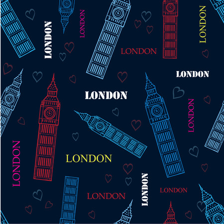 big ben tower: London Big Ben Tower Dark Blue Seamless Repeat Pattern With Hand Drawn Symbols, Words and hearts. Illustration