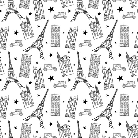 eifel: Paris Streets Black White Drawing Seamless Pattern with Eifel Tower, houses, cars and stars. Illustration