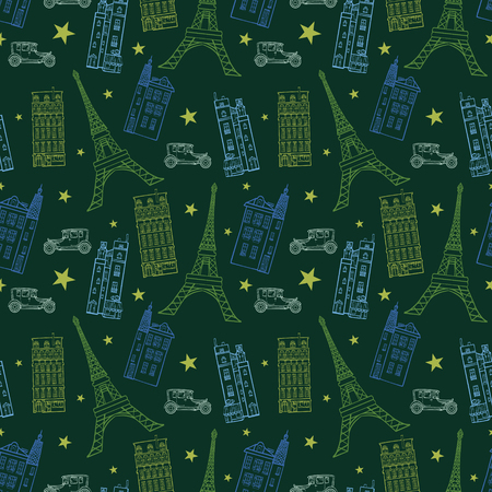 eifel: Paris Streets Drawing Seamless Pattern with Eifel Tower, houses, cars and stars.