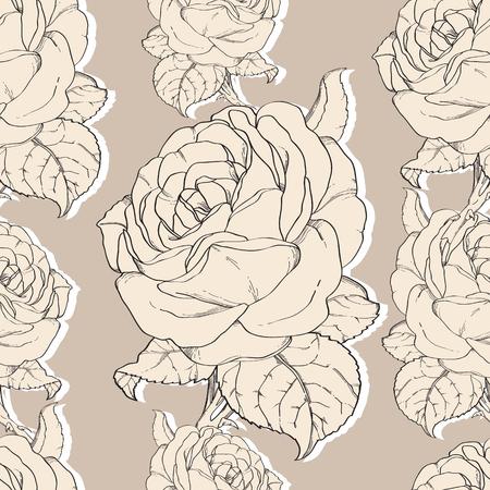 Seamless Pattern Hand Drawn In Botanical Style. 向量圖像