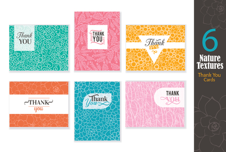 Six abstract natural textures thank you cards set with text design, repeating pattern.
