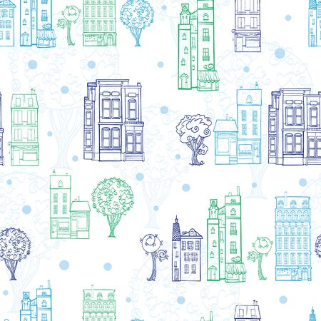 home products: Town Houses Trees Streets Blue Green Drawing Seamless Pattern with polka dots. Perfect for travel themed designs products, bags, accessories, luggage, clothing, home decor. Unique textile design and surface pattern design. Illustration