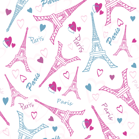 eifel tower: Eifel Tower Paris Love Pink Grey Drawing Seamless Pattern with romantic hearts. Perfect for travel themed designs products, bags, accessories, luggage, clothing. Perfect for Valentines Day and travel themed designs products, bags, accessories, luggage, cl