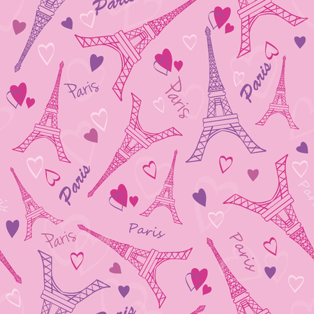 pink wallpaper: Eifel Tower Paris Love Pink Grey Drawing Seamless Pattern with romantic hearts. Perfect for travel themed designs products, bags, accessories, luggage, clothing. Perfect for Valentines Day and travel themed designs products, bags, accessories, luggage, cl