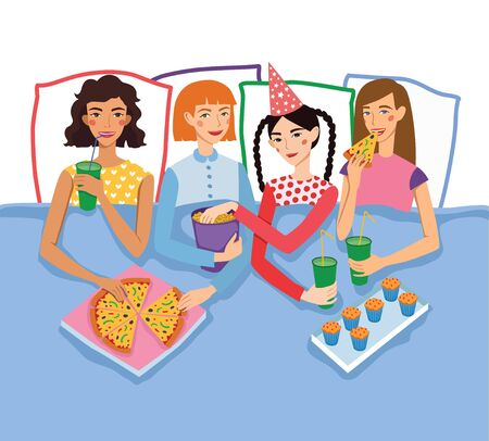 sleepover: Slumber Party With Four Cute Girls Friends Illustration. Ginger, Brunette, Blond and Brown Haired Girlfriends With Different Hairstyles Chatting, Snacking During Sleepover. Artwork is perfect for fun event gathering, magazine article, packaging.