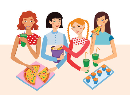 blonde teenage girl: Dinner Party Movie Night With Four Cute Girls Friends Illustration. Ginger, Brunette, Blond And Brown Haired Girlfriends Different Hairstyles Chatting, Snacking together. Artwork is perfect for fun event gathering, magazine article, packaging.
