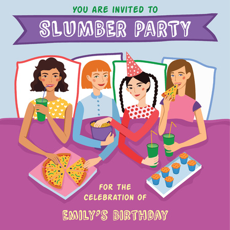 Slumber Party Birthday Invitation With Four Cute Girls Friends Illustration. Ginger, Brunette, Blond And Brown Haired Girlfriends Different Hairstyles Chatting, Snacking During Sleepover. Illustration is perfect for fun event gathering, magazine article,  Illustration