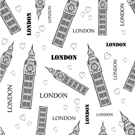 London Symbols Black White Seamless Pattern With Big Ben Tower, Hearts and Words. Perfect for travel themed backgrounds, cards, packaging, wallpaper. Textile design and surface pattern design.