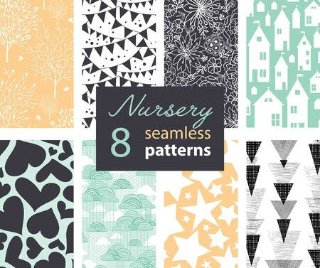 Neutral Nursery Decor Repeat Patterns 8 Set Seamless Pattern With Houses, Bunting, Flowers, Hearts, Clouds and Stars. Perfect for matching kids room wallpaper, bedding, furniture. Textile design and surface pattern graphic design set.