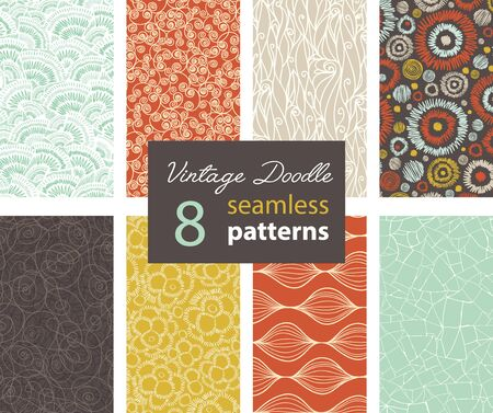 Vintage Doodle Repeat Seamless Patterns 8 Set With Various Hand Drawn Textures In Matching Prints. Perfect for scrapbooking, wallpaper, bedding, furniture, packaging. Textile design and surface pattern graphic design set.