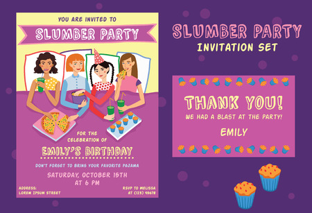 Slumber Party Birthday Invitation Thank You Card Set With Four Cute Girls Friends Illustration. Ginger, Brunette, Blond And Brown Haired Girlfriends Different Hairstyles Chatting, Snacking During Sleepover. Illustration is perfect for fun event gathering, Illustration