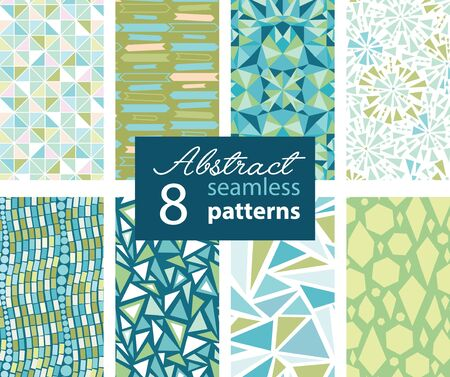 matching: Set Of 8 Abstract Shapes Green Blue Seamless Repeat Patterns With Triangles, Arrows, Dots In Matching Prints. Perfect for scrapbooking, wallpaper, bedding, furniture, packaging.Textile design and surface pattern graphic design set.