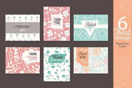green flowers: Six vintage floral wedding thank you card set with fun frmaes, text, retro floral repeat pattern backgrounds perfect for any event. Unique, elegant stationery graphic design.
