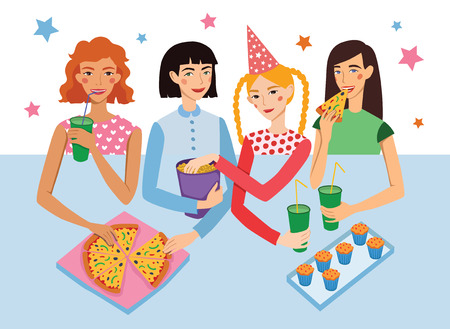 snacking: Birthday Party With Four Cute Girls Friends Vector Illustration. Girldfriends Chatting, Snacking During Celebration Event. Artwork is perfect for fun event gathering, invitation, magazine article.