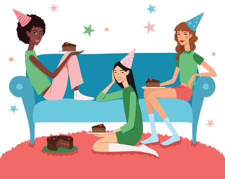 pijamada: Ilustración del vector de la fiesta de cumpleaños del adolescente con tres amigos bonitos que celebran come la torta en el sofá. Perfecto para una fiesta de pijamas diversión o acontecimiento de la fiesta de pijamas. Con las mujeres jóvenes, sombreros de fiesta, desierto y las estrellas. Vectores