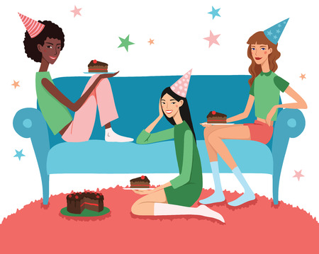 friends eating: Vector Teenage Girls Birthday Party Illustration With Three Pretty Friends Celebrating Eating Cake On Couch. Perfect for a fun sleepover or pajama party event. Featuring young women, party hats, desert and stars.