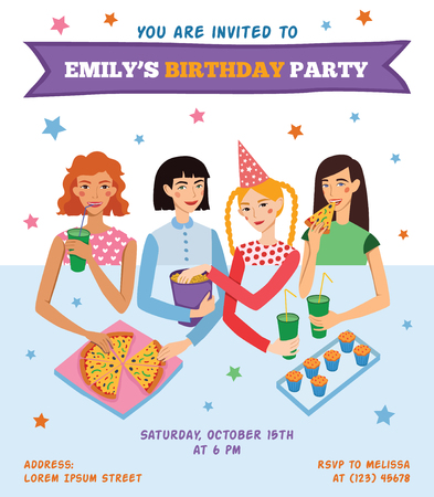 Vector Invitation Flyer Card For Teenage Girl's Birthday Party With Four Pretty Friends Celebrating. Perfect for a sleepover or pajama party event. Featuring young women, pizza, popcorn, cupcakes, drinks with fun text. Illustration