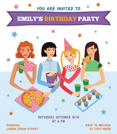 pijamada: Invitación del vector folleto tarjeta para el cumpleaños de adolescente con cuatro amigos muy celebrando. Perfecto para un evento o fiesta de pijamas pijama partido. Con las mujeres jóvenes, pizza, palomitas de maíz, bizcochos, bebidas con el texto divertido.