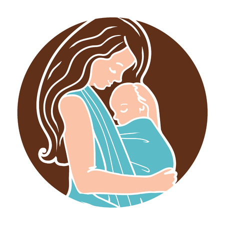 Baby wearing Round With Mother Hugging Baby In a Sling. Simple linear style. Perfect for blog posts, cards, print articles.