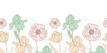 textile design: Vintage Flowers Pastel Horizontal Border Seamless Repeat Pattern With Tulips, Poppies, Iris In Classic Retro Style Textile Design. Perfect for fabric, products, packaging, wallpaper, wrapping paper, scrapbooking.