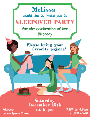 friends eating: Teenage Girls Birthday Party Invitation Card With Three Pretty Friends Celebrating Eating Cake On Couch. Perfect for a fun sleepover or pajama event. Featuring young women, party hats, desert and stars.