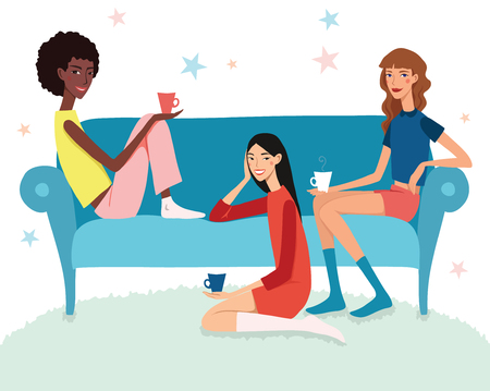 Teenage Girls Tea Party Illustration With Three Pretty Friends Celebrating Eating Cake On Couch. Perfect for a fun sleepover or pajama party event. Featuring young women, party hats, desert and stars.