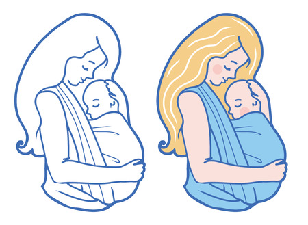 boy long hair: Baby wearing Illustration With Mother Hugging Baby In a Sling. Color and Drawing set. Simple line art style. Perfect for blog posts, cards, print articles. Illustration