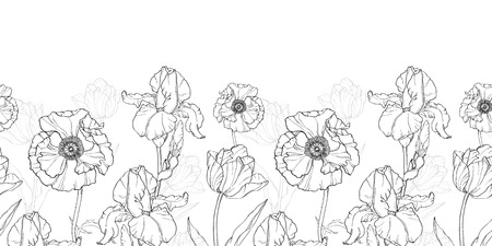 repeat pattern: Vintage Black White Flowers Drawing Horizontal Border Seamless Repeat Pattern With Tulips, Poppies, Iris In Classic Retro  Style Textile Design. Perfect for fabric, products, packaging, wallpaper, wrapping paper, scrapbooking. Illustration