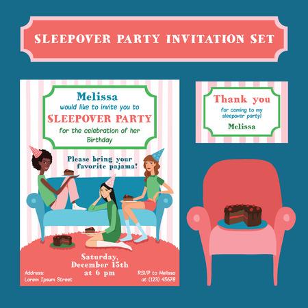 pijamada: Ilustración del vector de la fiesta de cumpleaños del adolescente Conjunto de la ilustración del vector adolescente y fiesta de cumpleaños de tarjeta de agradecimiento con tres amigos bonitos que celebran come la torta en el sofá. Perfecto para una fiesta de pijamas de la diversión o evento pijama. Con las mujeres jóvenes