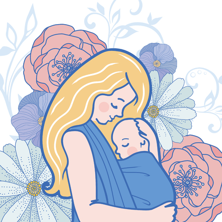baby and mother: Vector Babywearing Illustration With Mother Hugging Baby In a Sling. Detailed Flowers on Background. Perfect for blog posts, cards, print articles. Illustration