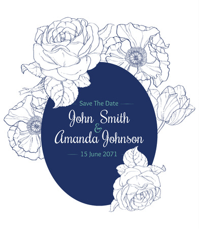Vector Vintage Navy Blue Vintage Floral Drawing Wedding Thank You Card With Tulips, Poppies, Rozes In Classic Retro  Style Design. Perfect for invinations, packaging, announcements, menu, scrapbooking.