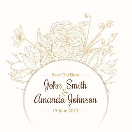 elegant white: Vector Vintage Light Brown Beige Border Frame Floral Drawing Wedding Invitation Card With Stylish Flowers and Text In Classic Retro Design. Perfect for invinations, packaging, announcements, menu, scrapbooking.