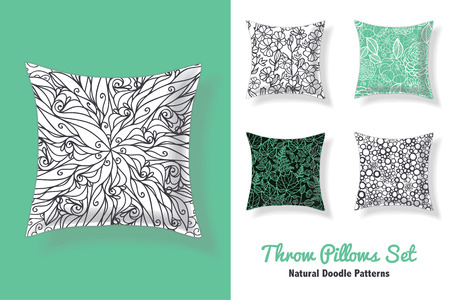 modern living room: Premium Set Of Throw Pillows In Matching Unique Abstract Doodle Seamless Patterns. Square Shape. Editable Vector Template. Surface Pattern Textile Design.