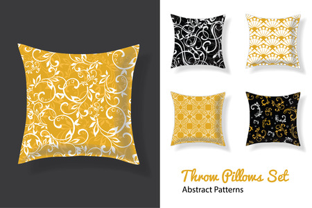 Set Of Vector Throw Pillows In Matching Unique Neutral Nursery Room Patterns. Square Shape. Editable Vector Template.