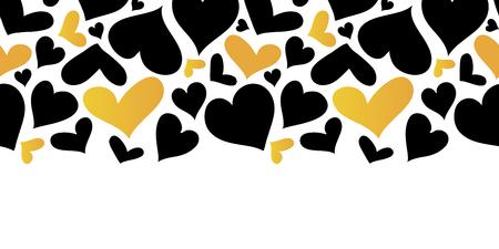 Vector Gold and Black Hearts Horizontal Seamless Pattern Border. Valentines day romantic background. Illusztráció
