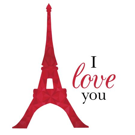 Vector Ruby Red Eifel Tower Paris On St Valentines Day Of Love. Perfect for travel themed postcards, greeting cards, wedding invitations.