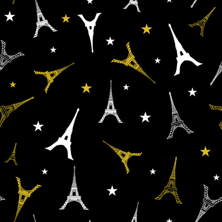 Vector Gold White Eifel Tower Paris Seamless Repeat Pattern With Stars At Night. Perfect for travel themed postcards, greeting cards, wedding invitations.