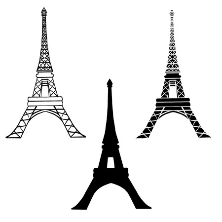Vector Set Of 3 Black Eiffel Towers in Paris Silhouette In Different Styles. Paris. French Landmark On White Background. Illustration