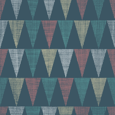 dark fiber: Vector Vintage Dark Grey Bunting Flags Triangles Seamless Pattern Background With fabric Texture. Perfect for nursery, birthday, circus or fair themed designs.