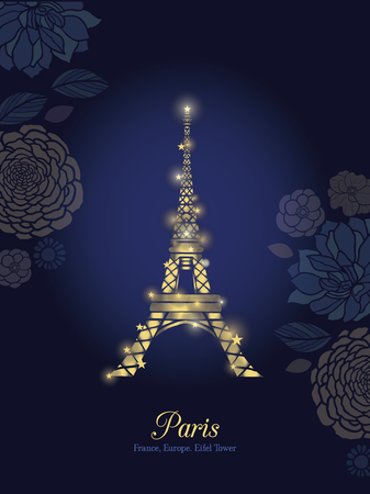 city lights: Vector Golden Glowing Eiffel Tower Surrounded By Flowers in Paris Silhouette At Night. . French Landmark On Dark Blue Background.