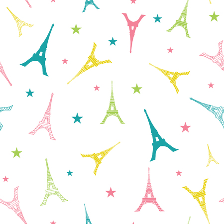Vector Colorful Eifel Tower Paris Silhouettes Seamless Repeat Pattern. Perfect for travel themed postcards, greeting cards, party invitations, fabric.